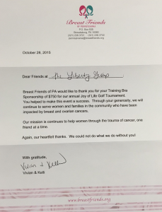 Breast Friends Thank You Letter